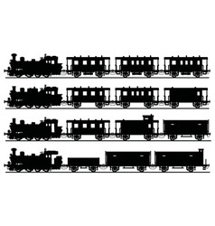 Vintage steam trains vector image