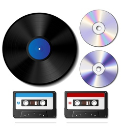 Vinyl record cd and cassette tape set vector