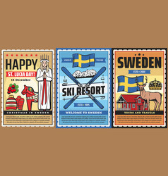 Welcome to sweden swedish culture and travel vector
