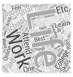 Working to Improve your Personal Life Word Cloud vector