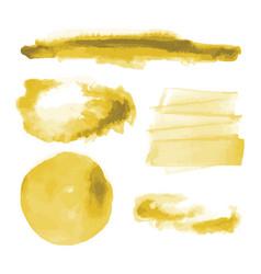 Yellow gold watercolor shapes circle splotches vector