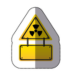 Yellow metal emblem warning radiation notice sign vector