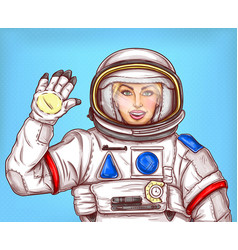 Young astronaut girl in a space suit waving her vector
