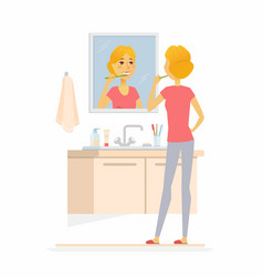 Young woman brushing her teeth - cartoon people vector
