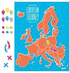 Cartoon style hand drawn journey map of europe vector image