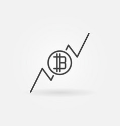 cryptocurrency growing graph icon vector image vector image