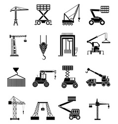 Heavy lifting machines icons set vector image vector image