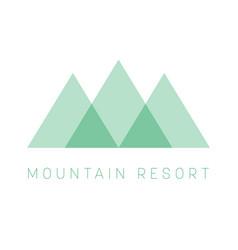 mountain resort logo template green triangle vector image