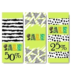 Sale design Collection of three hand drawn vector image vector image
