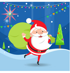 santa claus waving and holding bag with gifts vector image