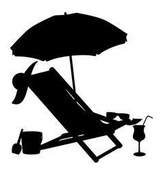 Silhouette of beach chairs and umbrellas vector