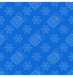 Snowflakes with Christmas gift box seamless vector image