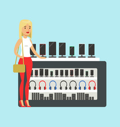 Young blond woman choosing a new mobile phone at vector