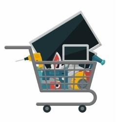 Appliances in a shopping cart vector image vector image