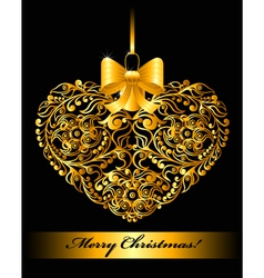 Christmas card with patterned heart vector image vector image