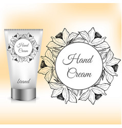 hand cream packaging with daffodil wreath vector image