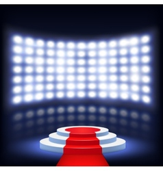 Illuminated Podium For Ceremony With Red Carpet vector image vector image