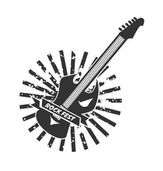 rock fest logotype with colorless guitar on white vector image vector image