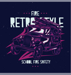 t-shirt label design with vintage fire truck vector image vector image