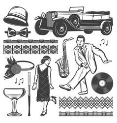 vintage retro party elements set vector image vector image