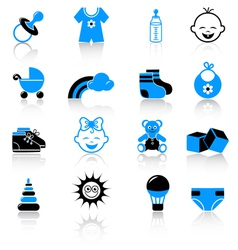 baby clothing and accessories icons vector image vector image