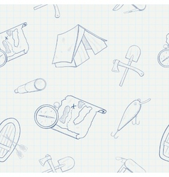 Camping hand drawn seamless pattern vector image vector image
