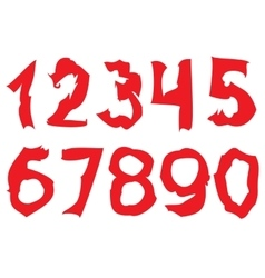 Curved red Numbers vector image vector image