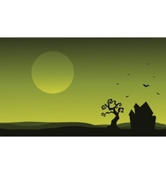 Silhouette of Halloween house and bat vector image vector image