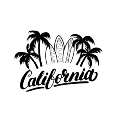 California hand written lettering with palms and vector image