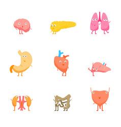 cartoon internal organs funny emotions set vector image vector image