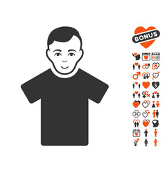 guy icon with lovely bonus vector image vector image