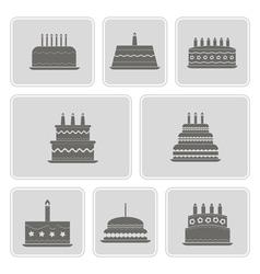monochrome icons with birthday cakefor vector image