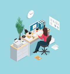 office workplace isometric composition vector image