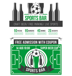 sport bar menu poster with soccer ball and beer vector image