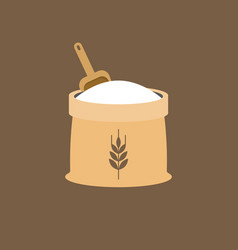 wheat flour icon with wooden scoop vector image