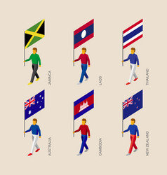 3d people with fags of lasian countries vector image