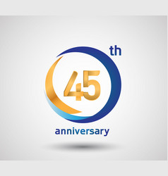 45 anniversary design with blue and golden circle vector