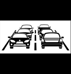 A traffic jam on the road vector