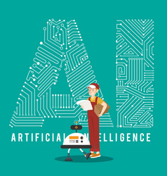 ai smart robot and delivery boy with ai mechanism vector image