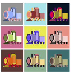 Assembly flat icons toy train vector