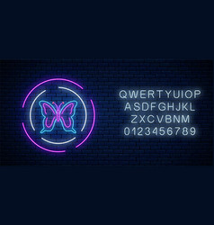 batterfly glowing neon sign in round frames with vector image