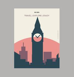 big ben london uk vintage style landmark poster vector image