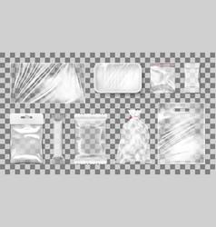 big transparent empty white plastic pack set vector image