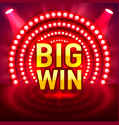 Big win casino signboard game banner design vector
