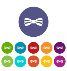 Bow tie set icons vector