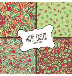 Bundle of patterns from colorful Easter eggs vector image