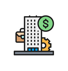 Business center bank financial institution flat vector