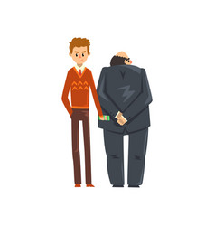 businessman giving bribe money corruption and vector image