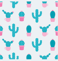 Cacti seamless pattern with succulen green cactus vector
