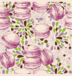 cake shop seamless pattern macarons and flowers vector image